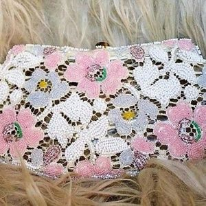 Pastel Glass Seed Beads Embroidered Purse LC